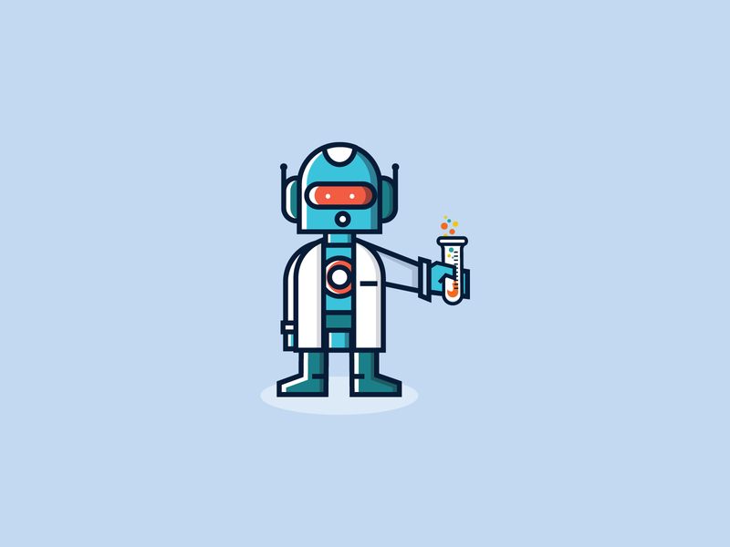 Scibo character mascot vector cute cyborg scientist warmup robot illustration icon dribbbleweeklywarmup