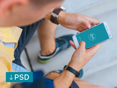 FREE mockup template: Man Holding Xiaomi Mi5 in his hands xiaomi download free high-resolution android mockup mock-up photorealistic photoshop psd template