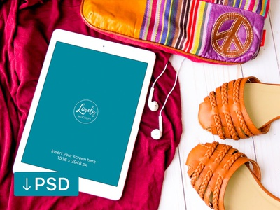 iPad With Shoes And A Fancy Bag (FREEBIE) apple free high-resolution mockup mock-up photorealistic photoshop psd workspace ipad
