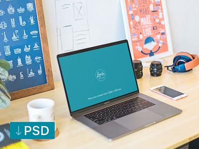 Macbook Pro On A Creative Desk (FREEBIE) apple free high-resolution mockup mock-up photorealistic photoshop psd workspace macbook