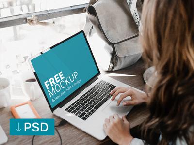 Free mockup: Woman Working On Her Macbook apple free high-resolution mockup mock-up photorealistic photoshop psd workspace macbook