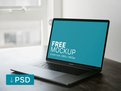 Free mockup: Space Grey Macbook Pro On A Brown Table apple free high-resolution mockup mock-up photorealistic photoshop psd workspace macbook