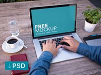 Free mockup: Male Freelancer Working On Macbook