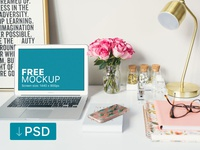 Free mockup: Macbook Air With Roses On the Table
