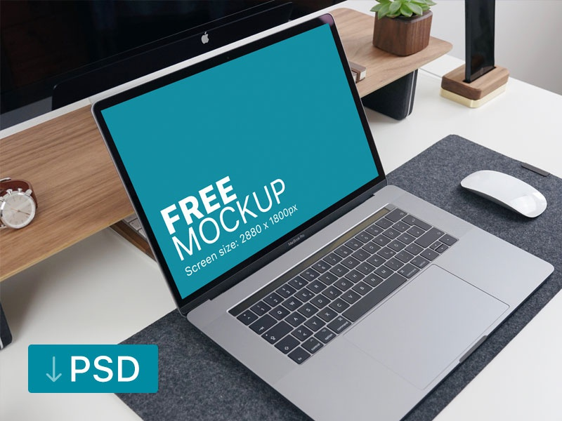 Free mockup: Macbook Pro with Office Supplies on the Table apple free high-resolution mockup mock-up photorealistic photoshop psd workspace macbook