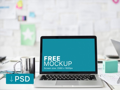 Free mockup: Macbook Pro with Tea Cup on Office Desk apple free high-resolution mockup mock-up photorealistic photoshop psd workspace macbook
