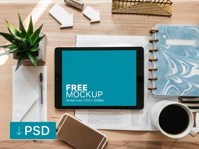 Ipad Pro Mockup On Creative Desk apple free high-resolution mockup mock-up photorealistic photoshop psd workspace ipad