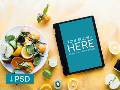 Samsung Chromebook Mockup With Fruits On Wooden Floor samsung free high-resolution mockup mock-up photorealistic photoshop psd workspace chromebook