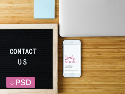 White iPhone MOckup and Contact Us Sign On Desk apple free high-resolution mockup mock-up photorealistic photoshop psd workspace iphone