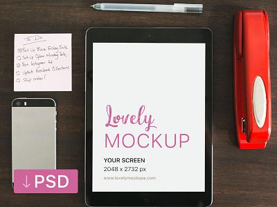 iPad Mockup And A To Do List On The Table apple free high-resolution mockup mock-up photorealistic photoshop psd workspace ipad
