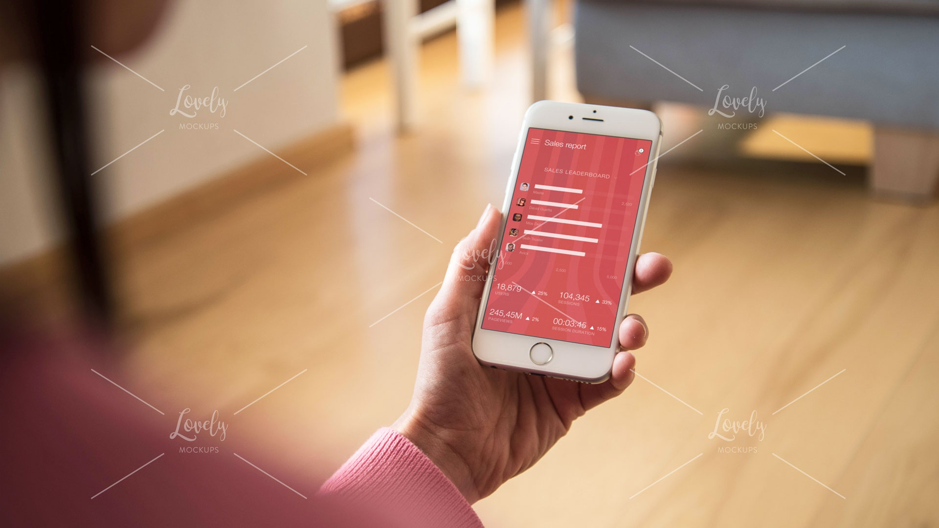 Woman using iphone in living room 2