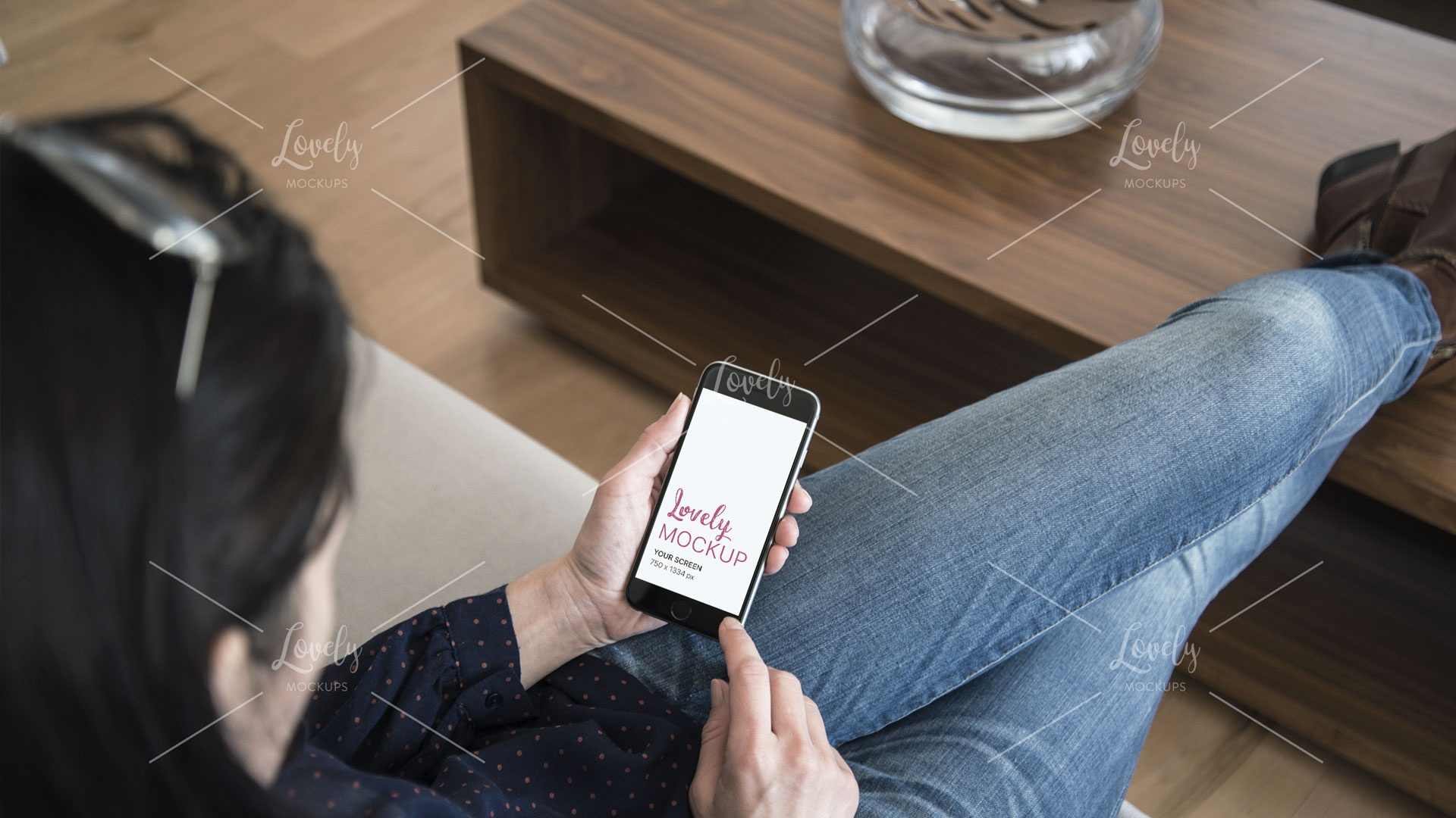 Relaxed woman with white iphone mockup in her hands dribbble 2