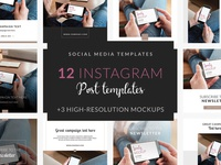 Instagram post templates instagram social media design social media template apple psd high-resolution mock-up photorealistic mockup