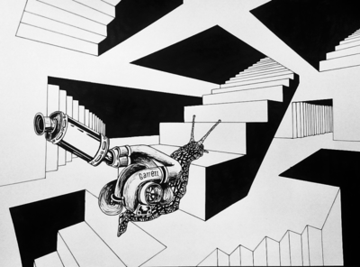 Exhausted surrealism surreal art creature blackandgrey blackandwhite black and white traditional art maxxisart illustration