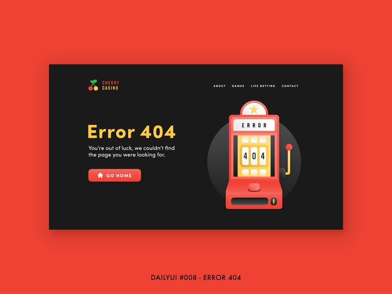 DailyUI #008 - Error 404 arcade minimal design dailyui gradient illustration error 404 slot machine gambling betting game ux ui website error 404
