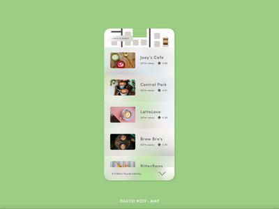 DailyUI #029 - Map location gps cappuccino coffee cafe digital animation interaction app adobe xd interface minimal design ux ui dailyui