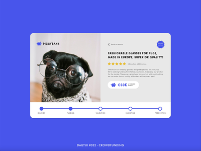 DailyUI #032 - Crowdfunding page product support pug campaign crowdfunding digital animation interaction adobe xd interface minimal design ux ui dailyui