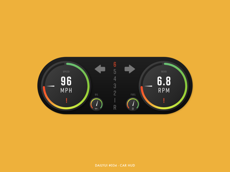 DailyUI #034 - Car HUD display vehicle rpm speedometer speedo hud car mode dark gradient design digital adobe xd interface minimal ux ui dailyui