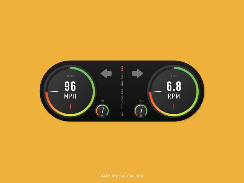 DailyUI #034 - Car HUD display vehicle rpm speedometer speedo hud car mode dark gradient design digital adobe xd interface minimal ux ui dailyui