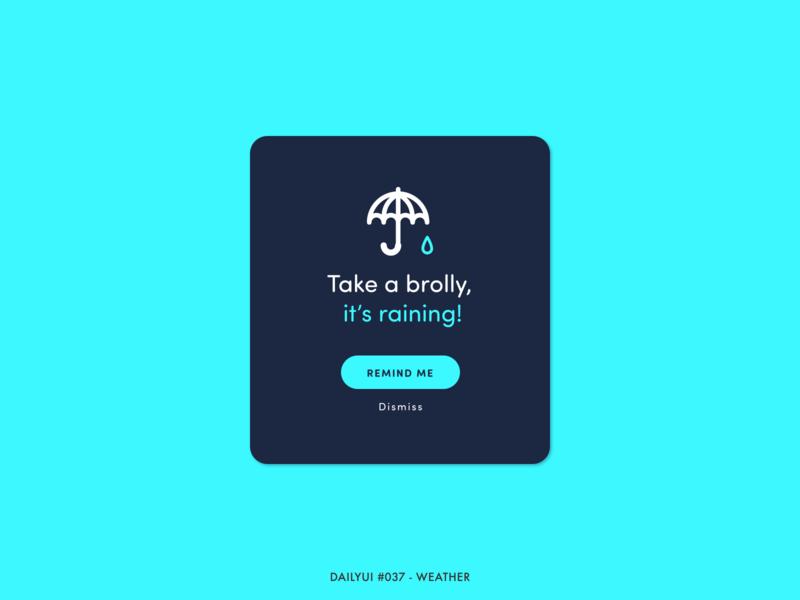 DailyUI #037 - Weather umbrella raining notification reminder rain weather watch animation interaction adobe xd interface minimal design ux ui dailyui