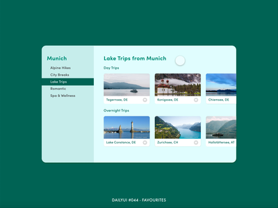 DailyUI #044 - Favourites desktop adventure trip favourites favourite lakes munich travel digital app animation interaction adobe xd interface minimal design ux ui dailyui