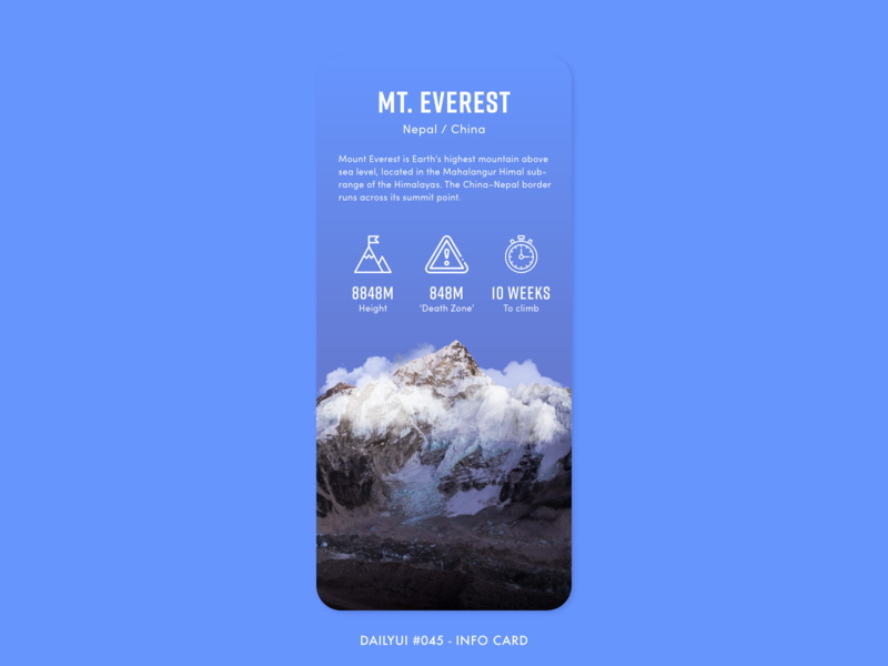 DailyUI  #045 - Info Card everest facts info card card information info mountain gradient digital app adobe xd interface minimal design ux ui dailyui