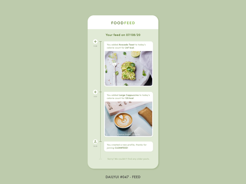 DailyUI #047 - Feed green pastel weight loss calories food tracking timeline feed health fitness digital app adobe xd interface design minimal ux ui dailyui