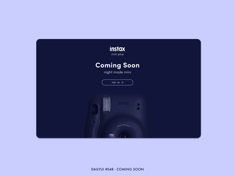 DailyUI #048 - Coming Soon midnight night mode photography polaroid instax email signup countdown coming soon landing page website web adobe xd interface minimal ux ui design dailyui