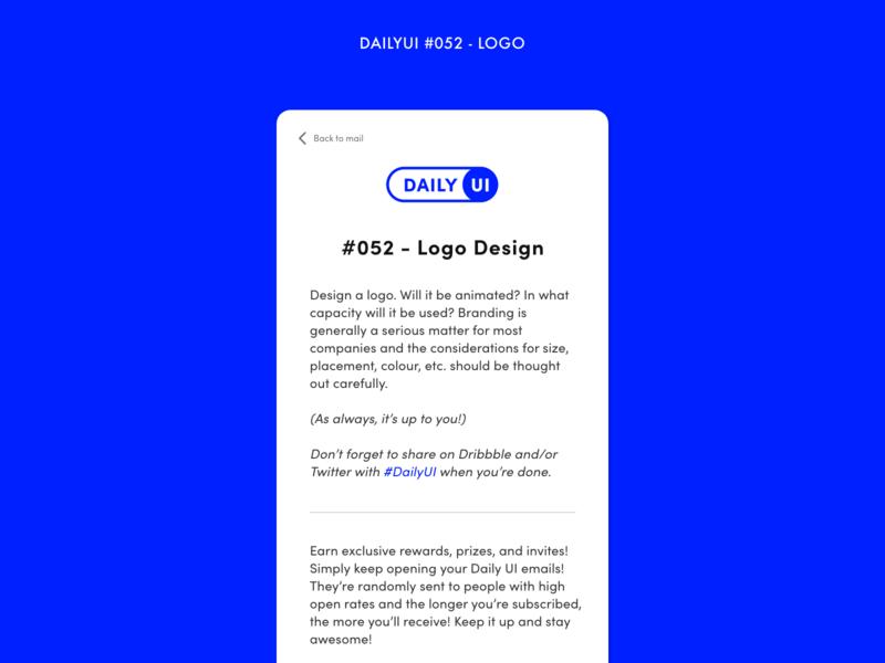 DAILYUI #052 - Logo challenge daily newsletter email logotype logo mail adobe xd interface minimal design ux ui dailyui