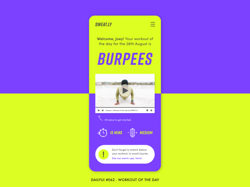 Daily UI #062 - Workout of the day workout of the day app ui training energy neon bold workout fitness app digital adobe xd interface minimal design ux ui daily ui 062 daily ui dailyui