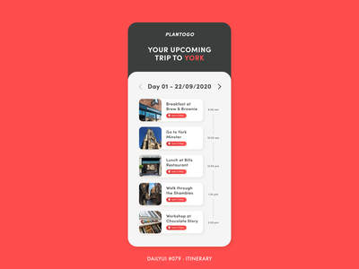 Daily UI #079 - Itinerary challenge 079 trip day planner england uk york travel plan itinerary app digital adobe xd interface minimal design dailyui ux ui