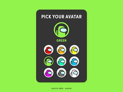 Daily UI #088 - Avatar 088 crew impostor among us profile avatardesign avatar design avatar icons avatars avatar interaction app digital adobe xd interface minimal design dailyui ux ui
