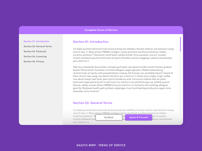 Daily UI #089 - Terms of Service screen scroll 089 purple conditions tablet ipad terms and conditions terms of service terms gradient challenge digital adobe xd interface minimal design ux ui dailyui