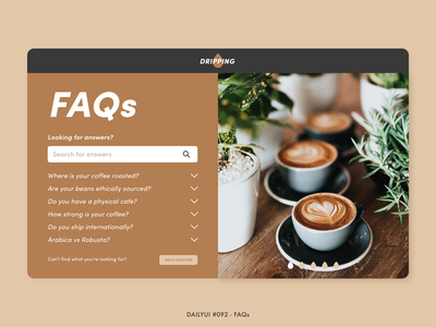 Daily UI #092 - FAQs cappuccino coffee shop question answer 092 questions frequently asked questions faqs faq cafe coffee challenge digital adobe xd interface minimal dailyui design ux ui