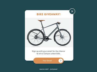 DailyUI #097 - Giveaway 097 canyon bikes popup promo giveaways give away giveaway cycling bike sports challenge digital adobe xd interface minimal dailyui design ux ui