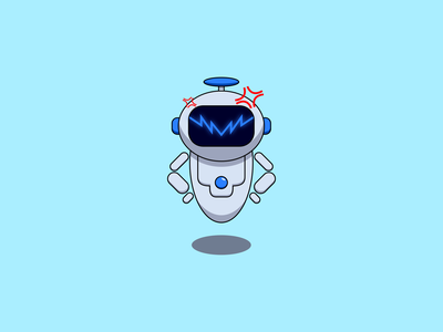 Flat illustration of Robot Get Angry angry robot business illustration