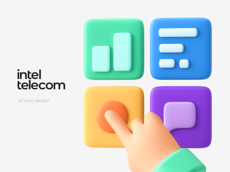 Inteltelecom — 3d illustration for web site 3d art design colors ui design ui web design 3d 3d illustration illustraion