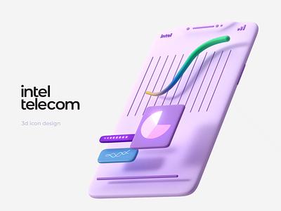 3d phone animation — Inteltelecom web site colors web design ui design illustraion 3d illustration motiongraphics motion design 3d animation 3d