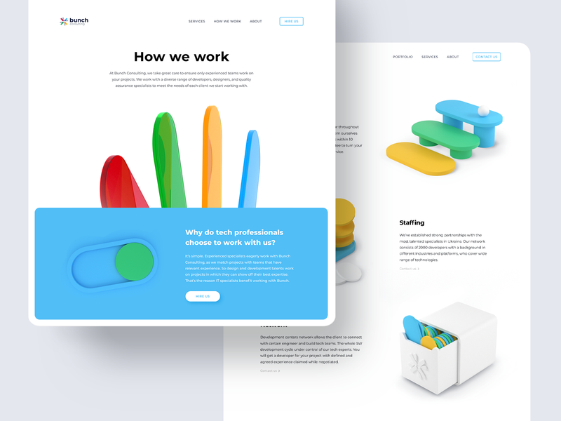 Web site — Bunch Consulting abstract c4d art direction illustraion 3d illustration design typogaphy interface ux ui colors landing page web design website web 3d art 3d