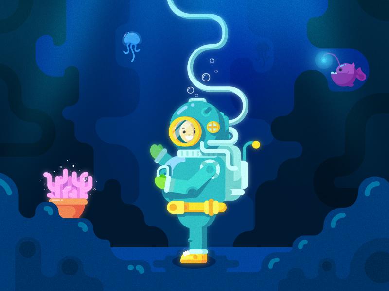 Underwater Explorer colors ux ui character sea fish ocean underwater diver illustration
