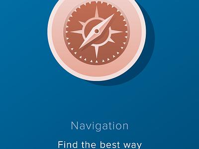 Travel App Tutorial compass camera guide walkthrough tourist travel colors ux ui illustration tutorial