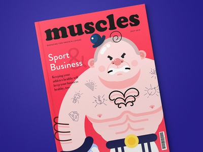 Muscles Magazine pageproof typogaphy tubik issue magazine colors character sport illustration