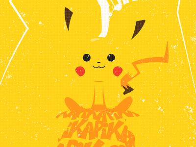 Poster Pikachu vector tubik flat colors pikachu pokemon illustration poster