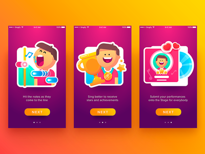 Singify App Tutorial  music ios app character illustration gradien colors flat ux ui walkthrough tutorial