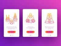 Shauts App Tutorial  outline ios app character illustration gradien colors flat ux ui walkthrough tutorial