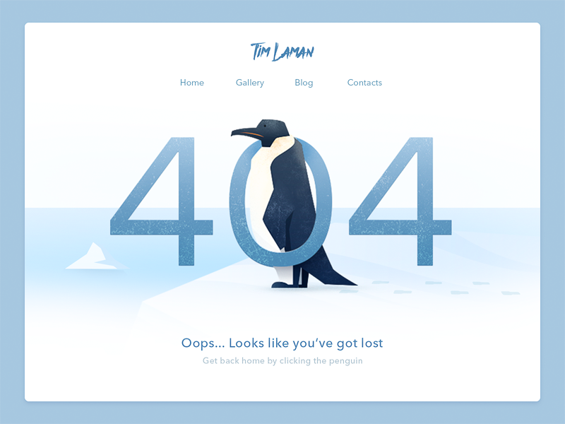 Page 404 nature ux ui interface 404 flat winter penguin web illustration