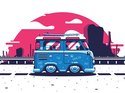 Californication Bus journey travel road colors flat illustration california bus