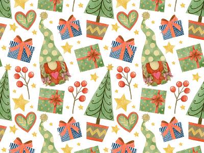 Watercolor Christmas Gnomes seamless patterns. pattern art folk folkart graphicdesign pattern design pattern illustration drawing design art