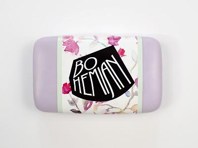 Bohemian Soap Packaging lettering hand lettering watercolor illustration feminine art nouveau floral packaging package design soap label pastel