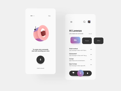 Voice commands app figma gradient illustration card design onboarding ui onboarding button design ux uidesign ui interaction design design app